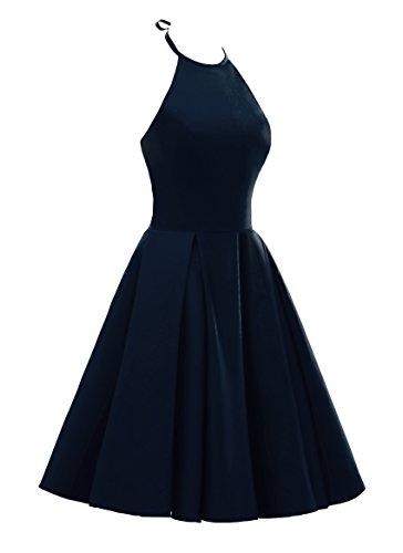 Yinyyinhs Robes De Mariée Cocktail En Satin Bleu Marine Robe De Soirée Courte Demoiselle D'honneur