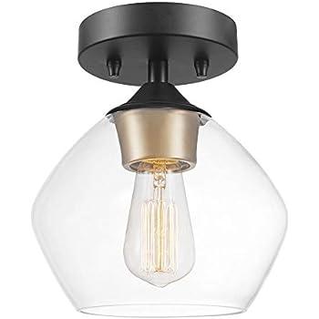 Globe Electric Harrow 1-Light Semi-Flush Mount Ceiling Light, Matte Black Finish, Gold Accent Socket, Clear Glass Shade 60333