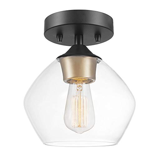 Globe Electric 60333 Harrow Light Semi-Flush Mount, Matte Black with Clear Glass Shade, ()