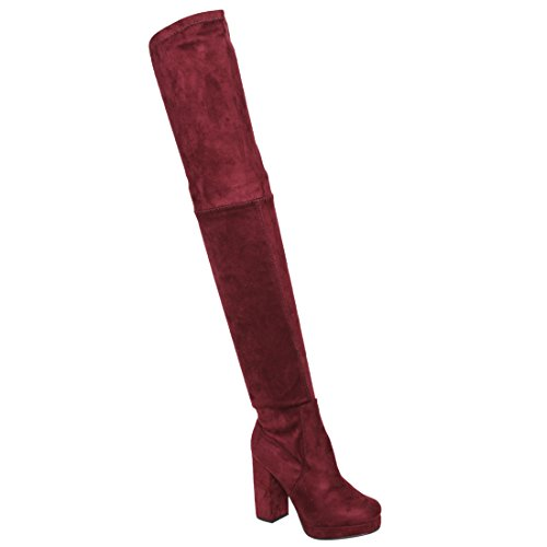 BESTON EJ51 Women's Side Zip Platform Chunky Heel Over The Knee Thigh High Boots, Color:Wine, Size:7