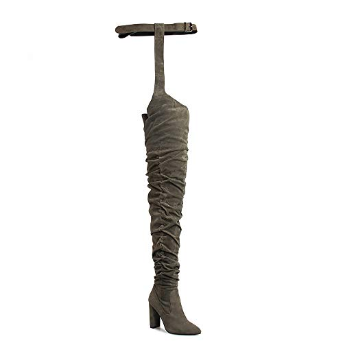 OLCHEE Women's Fashion Thigh High Boots - Over The Knee Pointed Toe Sexy High Heeled Boots with Belt - Block Heels Army Green Size -
