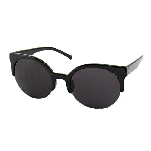 Women's Retro Semi-Rimless Round Goggle Designer Sunglasses by - Sunglasses Jr Paul