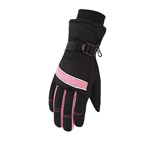 Winter Gloves Women Waterproof Cold Padded Velvet Riding Outdoor Ski Gloves Warm Pink Gloves ()
