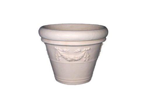 Amedeo Design ResinStone 2506-17L Rolled Rim Garland Planter, 32 by 32 by 26-Inch, Limestone ()