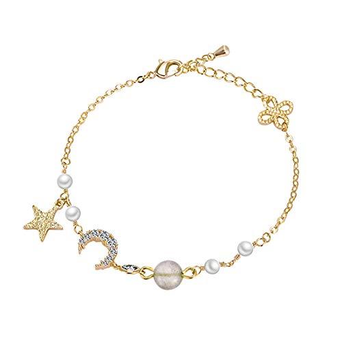 Dainty Star Moon Friendship Bracelets for Her Gift