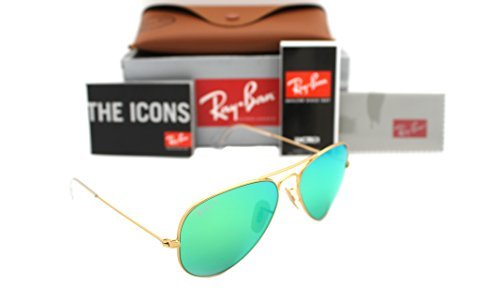 Ray Ban Authentic Aviator Rb 3025 112/p9 58mm Matte Gold / Green Mirror - Authentic Ban 3025 Ray Sunglass Mirror Aviator Gold Matte