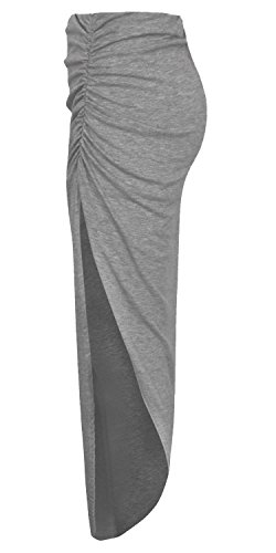 Jersey Maxi Long Skirt (Forever Womens Plain Ruched Style Side Split Viscose Jersey Stretchy Maxi Skirt)