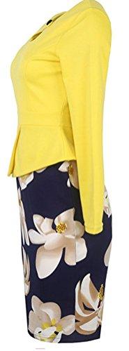 SunIfSnow - Vestido - ajustado - Floral - Manga Larga - para mujer amarillo