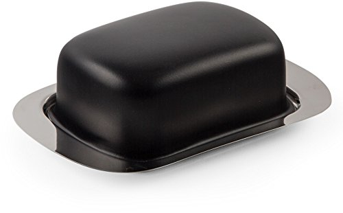 Black Covered Butter (Home Essentials Black Covered Butter Dish W/Stainless Steel Tray W)