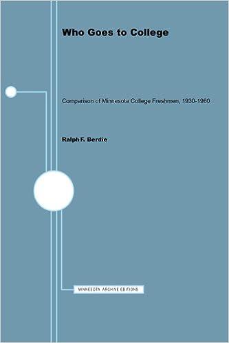 Buy Who Goes To College Comparison Of Minnesota College Freshmen