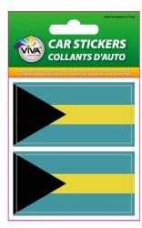 2 Bahamas Country Flag Set of Small Automobile Bumper Stickers Decals ... 1 3/8 X 2 3/4 Inches ... New in Package