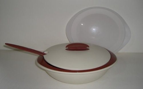 Tupperware Small Insulated Oval Server in Cream & Cinnamon (6-1/3 Cup & 8-7/8 Cup Serving Bowls) for Soup, Stews, Casseroles & More