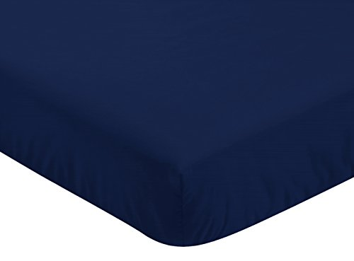 Sweet Jojo Designs Fitted Crib Sheet for Navy Blue, Mint and Grey Woodsy Boys Baby/Toddler Bedding Set Collection - Navy Blue