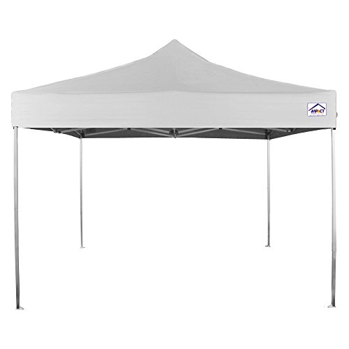 Impact Canopy 10x10 Aluminum Ultra Light Weight Pop Up Canopy Tent Impact Canopies Instant Sun and Rain Shelter with Roller Bag, White by Impact Canopy