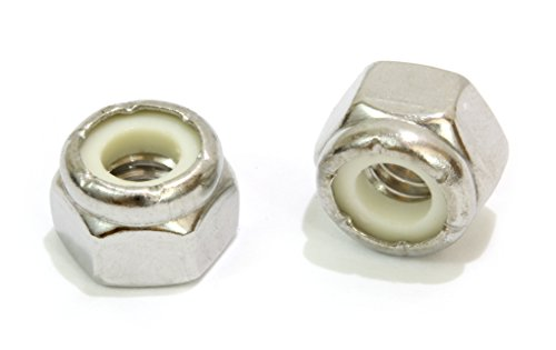 (#10-24 Inch Lock Nut (100 Pack) Stainless Steel Finish Hex, 304 18-8 Stainless Steel with Nylon Insert, by Bolt Dropper)