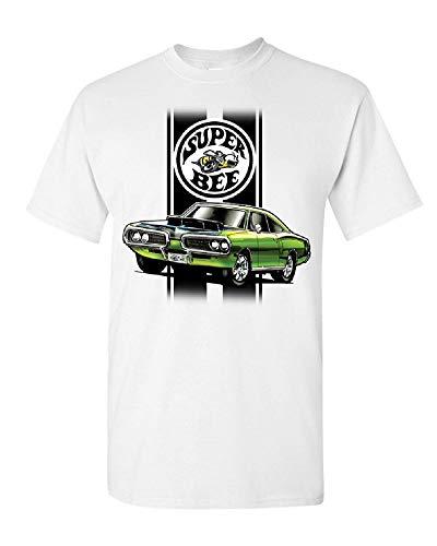 Dodge Green Car Super Bee T-Shirt DodgeTees (Front Print), White, M ()