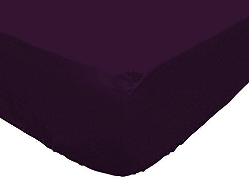 Soleil dOcre 614218 Atmo Drap Housse Uni Poly Coton Violet 200 x 160 cm