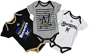 Milwaukee Brewers Baby/Infant Triple Play II 3 Piece Creeper Set 6-9 Months ()