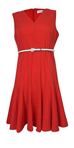 Calvin Klein Women's Petite Sleeveless V-Neck Belted Dress, Fire, 10 (Petite V-neck Skirt)