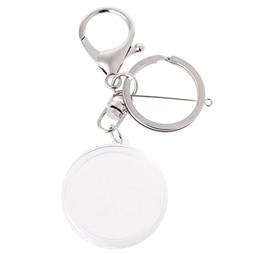 (Milue Acrylic Coin Holder Capsule With Pad Ring For 30mm 27mm Keyring Alloy Keychain (Silver))