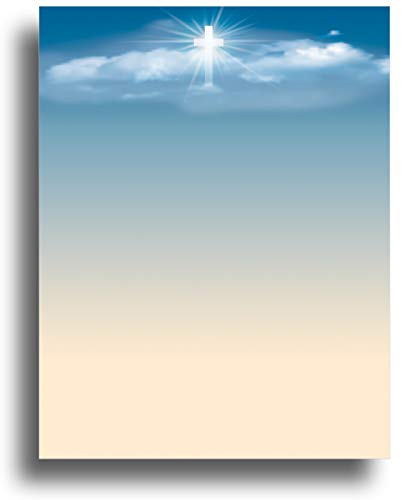 (Cross in the Sky Religious Stationery Paper - 80 Sheets)