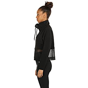 icyzone cyZone Womens Long Sleeve Workout Shirts Athletic Running Tops Track Jacket Half-Zip Pullover (L, Black)