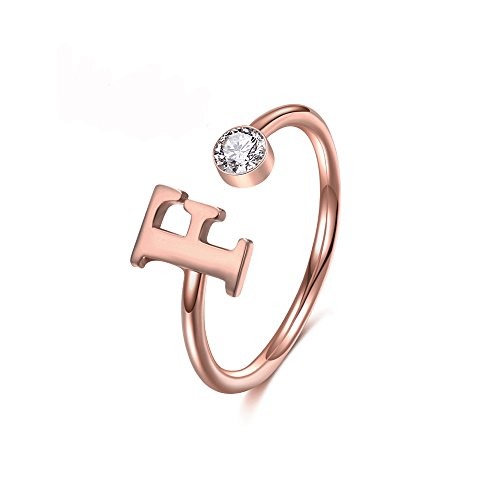 MANZHEN Personalized Rose Gold Initial Letter Ring A-Z Stackable Ring (J)
