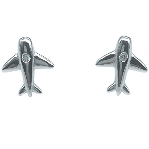 Helen de Lete Simple Pattern Little Tiny Aeroplane Airplane Airplane Sterling Silver Stud Earrings