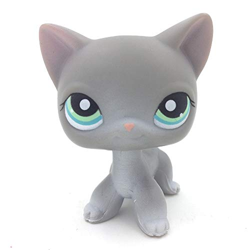 PampasSK Action & Toy Figures - #126 Gray Short Hair Cat Teal Eyes Rare Animal Kids Toys 1 PCs