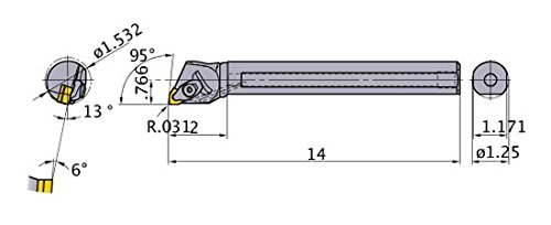 1.532 Minimum Cutting Dia. 95/° Cutting Angle Mitsubishi Materials S-DWLNR-204-C Double Clamp Dimple Boring Bar with 0.500 IC Trigon Insert 1.250 Shank Dia Right with Coolant Steel Shank