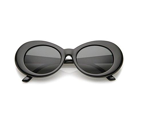 homme de soleil épais Clout Mod pour les Bright lunettes Retro lunettes Oval femmes Bold Black de Lunettes soleil rondes Lens FOURCHEN UYwqx5P6w