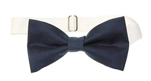 Men's Navy Blue Pre-Tied Cotton Bow Tie On Adjustable Twill Strap by -