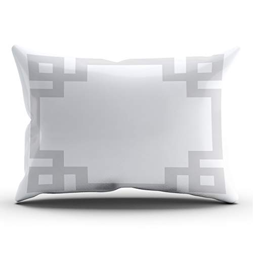 ANLIPU Personalized Decorative Pillowcases Greek Key Border Gray and White Throw Pillow Covers Cases Lumbar Rectangular Size 12x24 Inches Print on One Side
