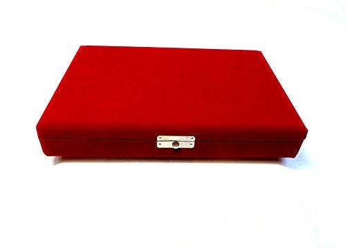 Japanese Shamisen Pick Box for Jiuta, Velvet Red w/import shipping 三味線 地唄 1丁バチ入れ 箱 駒 糸入れ付 ビロード -