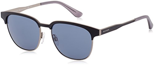 Tommy Hilfiger Th1356s Rectangular Sunglasses, Semi Matte Rust Black/Gray, 54 - Glasses Tommy
