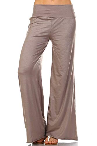 Simplicitie Women's Casual Wide Leg High Waist Bohemian Palazzo Pants - Regular and Plus Size - Mocha - Made in USA