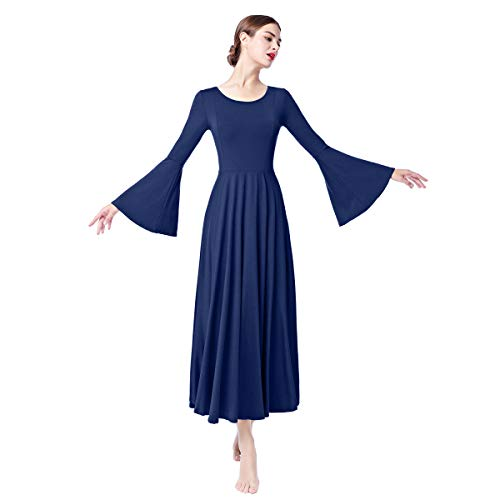 Women Long Bell Sleeve Liturgical Costume Full Length Loose Fit Pleated Praise Dance Dress Solid Casual Flare Maxi Worship Gown Y# Navy Blue L ()