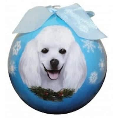 Poodle - White Personalized Ornament - (Unique Christmas Tree Ornament - Classic Decor for A Holiday Party - Custom Decorations for Family Kids Baby Military Sports Or Pets)