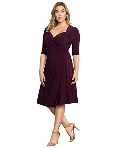 Kiyonna Women's Plus Size Sweetheart Knit Wrap Dress 3X Plum