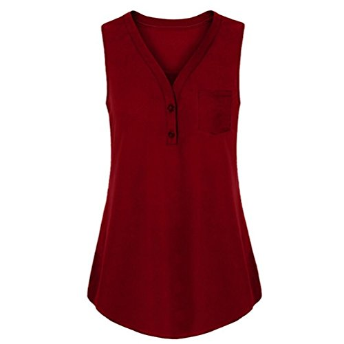 747f823881d8d Wintialy Sexy Women Summer Loose V Neck Cami Tank Solid Tops Vest Blouse Red
