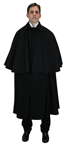 Historical Emporium Men's 100% Wool Inverness Dress Cape Black