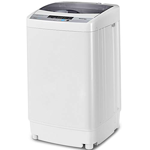 (Giantex Full-Automatic Washing Machine Portable Compact 1.6 Cu.ft Laundry Washer Spin with Drain Pump, 10 programs 8 Water Level Selections with LED Display 10 Lbs Capacity)