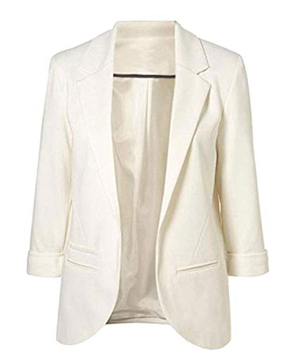 Blazer Estivi Bianca Di Da Bavero Donna Semplicemente Moda Outerwear Puro Manica 3 Marca Casual Colore Giacca Business Ufficio Mode Elegante Tailleur 4 shtQrdC