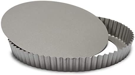 Patisse Carat Quiche Pan with Removable Bottom Heavy Duty Double Non-Stick Coating, Dark Grey Metallic