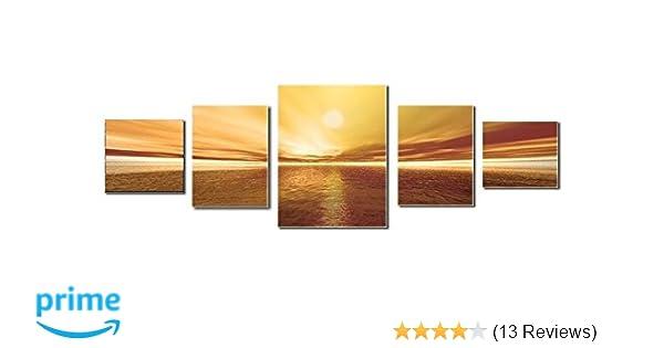 Amazon.com: Startonight Canvas Wall Art Sunset, Landscape USA Design for Home Decor, Dual View Surprise Artwork Modern Framed Ready to Hang Wall Art Set of ...