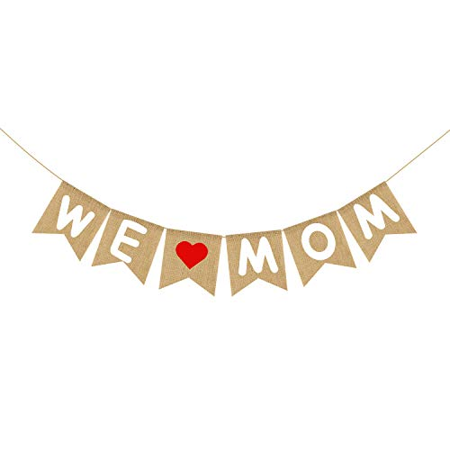 Burlap We Love Mom Banner Garland | Rustic Mothers Day Decorations | Mothers Day Gifts from Son and -