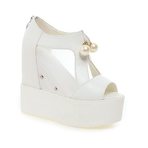 Women's Zipper PU Solid Heels High Peep Toe Sandals White WeenFashion 6dqSxPw6