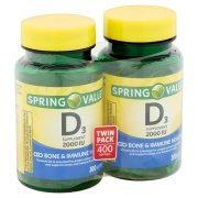 Spring Valley Vitamin D3 2000 IU Twin Pack Dietary Supplement Softgels
