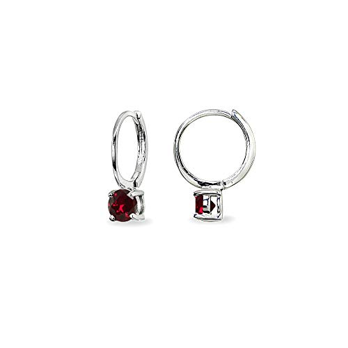 Sterling Silver Created Ruby 5mm Solitaire Small Round Huggie Hoop Earrings for Women Teen Girls
