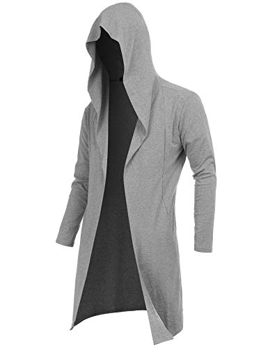 RAGEMALL Mens Long Cardigan Open Front Draped Lightweight Hooded Sweater with Pockets Light Grey_XL